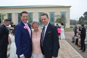 Flagler County Clerk of Court Tom Bexley, left, led the ceremony and had a special couple renewing vows: his own parents, Carol and Bill, who have been married 50 years. Click on the image for larger view. (© FlaglerLive)