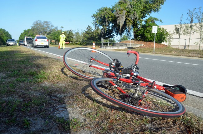 The cyclist was struck near Walgreens on Palm Coast Parkway. Click on the image for larger view. (© FlaglerLive)