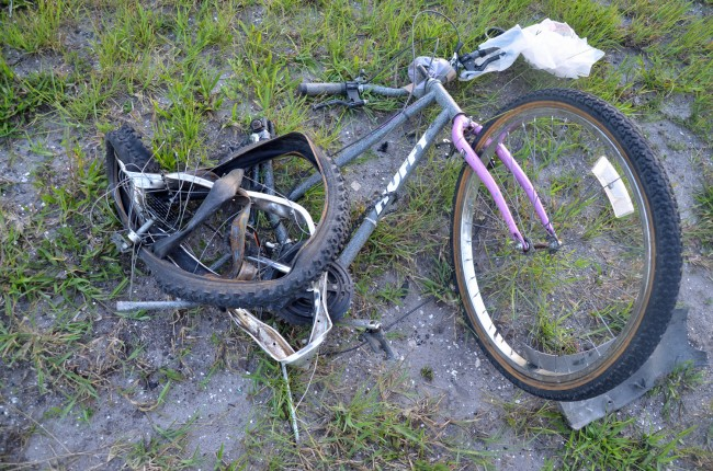 What remained of the bike. Click on the image for larger view. (© FlaglerLive)