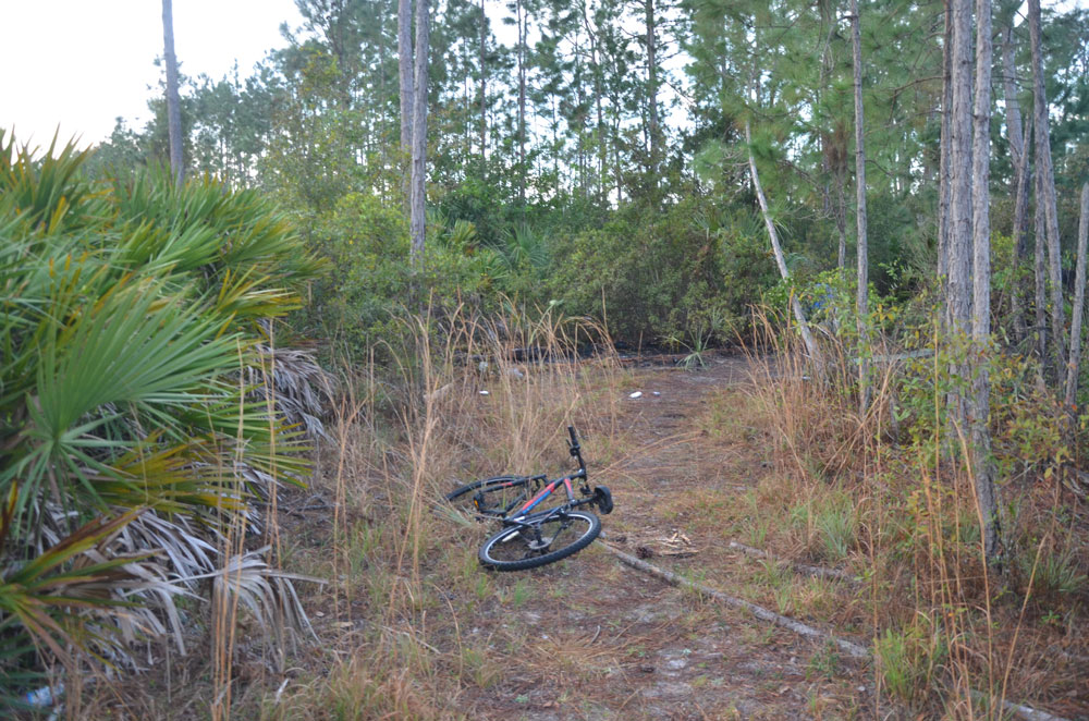 A bicycle at the scene a few feet away from the fore zone, to the right and out of view of the camera. (© FlaglerLive)