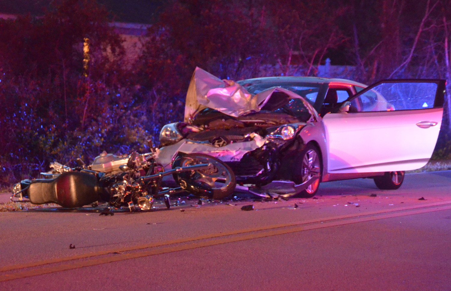 The wreck on Rymfire shortly after the victim was taken to a hospital this evening. (c FlaglerLive)