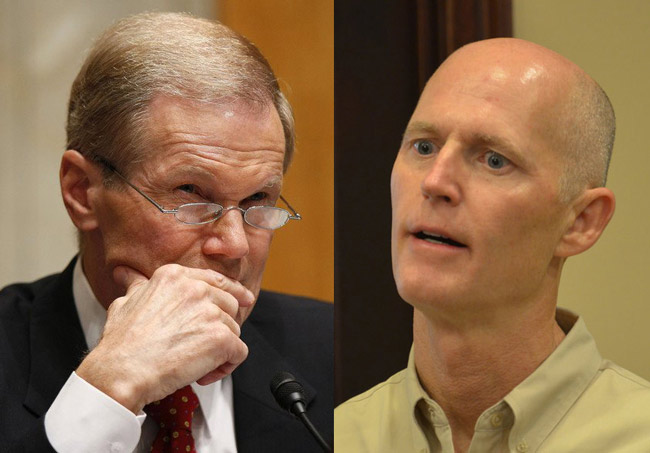 Sen. Bill Nelson, left, in a stop in Tallahassee, is blaming Rick Scott for not putting to work federal dollars designed to help those hardest hit by the mortgage meltdown. (Facebook and © FlaglerLive)