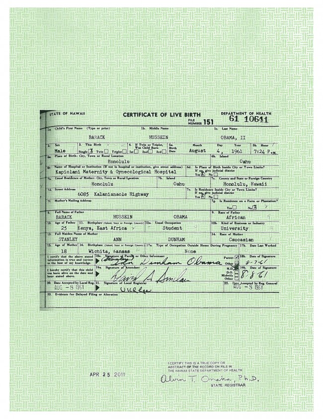 barack obama long form birth certificate birthers controversy