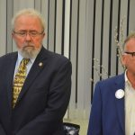 Bob Cuff, left, has opted not to run for a second term, leaving the field open, for now, for newcomer Ed Danko. Cuff and Danko were at the same meeting at the Flagler Humane Society last November. (© FlaglerLive)