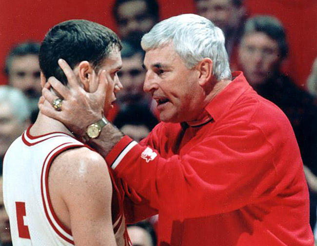 Bill Reed, left, and Bobby Knight, whose intemperate moments were more often glorified than disciplined. Until Reed stopped him. (CBS Sports)