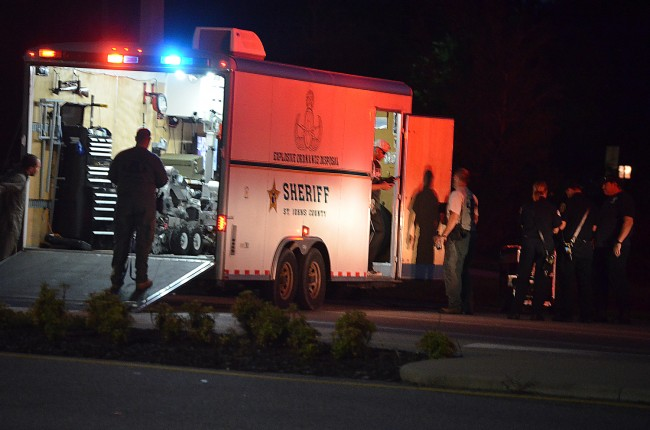 The St. Johns County Bomb Squad's robot had claimed the object and was delivering it for analysis on Belle Terre Parkway between Palm Coast Parkway west and east at 7:40 p.m. (c FlaglerLive)