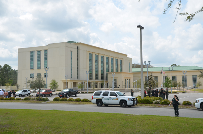 The courthouse was evacuated after a bomb threat was called in around 12:30 this afternoon. (c FlaglerLive)