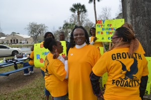 Bonita Robinson and her supporters. Click on the image for larger view. (© FlaglerLive)