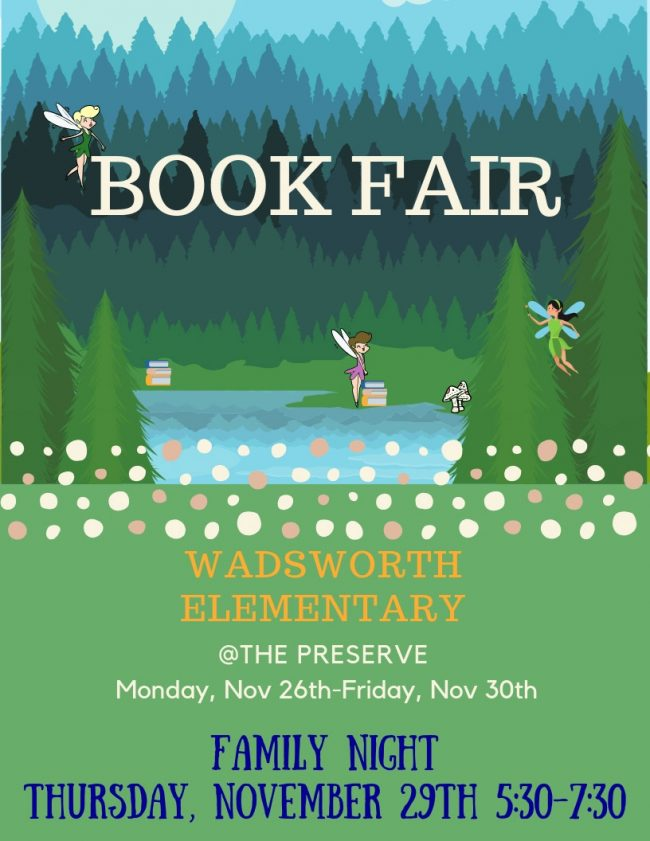 Wadsworth's Book Fair flier, advertised on its website.