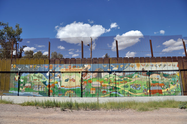 It won't look that pretty. The border fence on the Mexican side in Nogales, bordering Arizona. (Jonathan McIntosh)