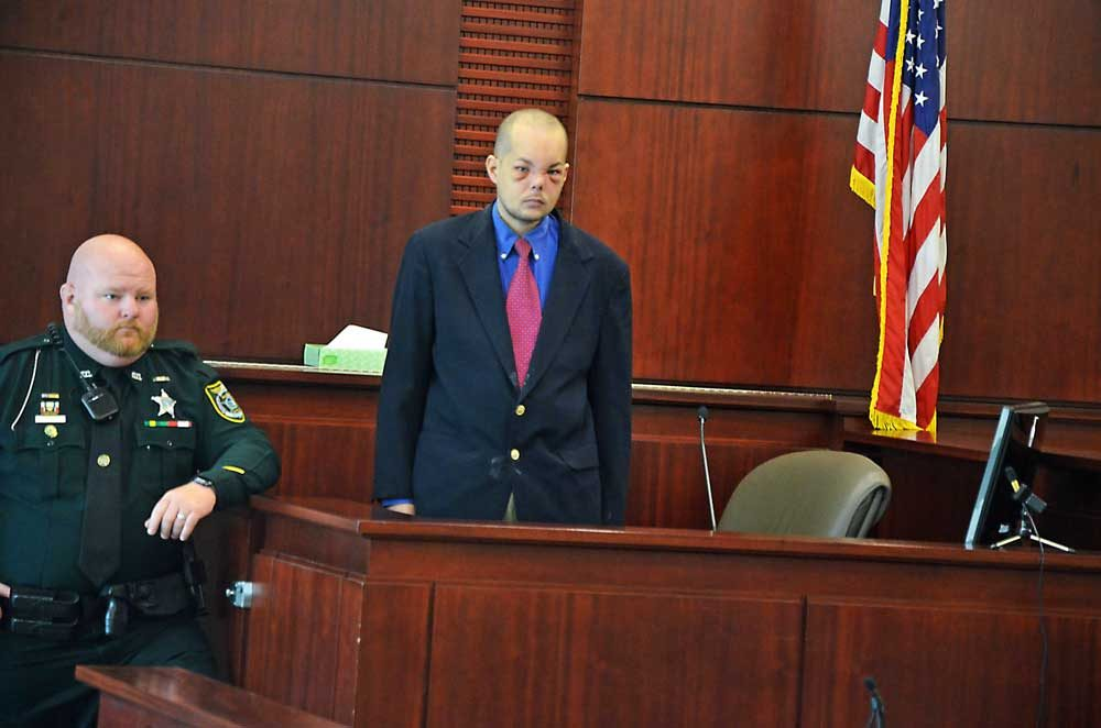 Joseph Bova moments before he testified today in his trial on a first-degree murder charge. (© FlaglerLive)