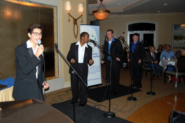 The Jersey Boys steal the show: Nicholas O'Connor, Alvante Pearson, Jeffrey McDevitt and Boyd Fulmer <br>(© FlaglerLive)