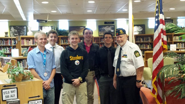 The five Boys State nominees with American Legion Flagler Post 115 representative George Stockley.  From left, Hayden Ore, Will Gibbs, Evan Ore, Devin Ritter, Alex Lull and Stockley.