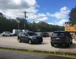 The scene in front of the BP gas station on U.S. 1 this afternoon. (© FlaglerLive)