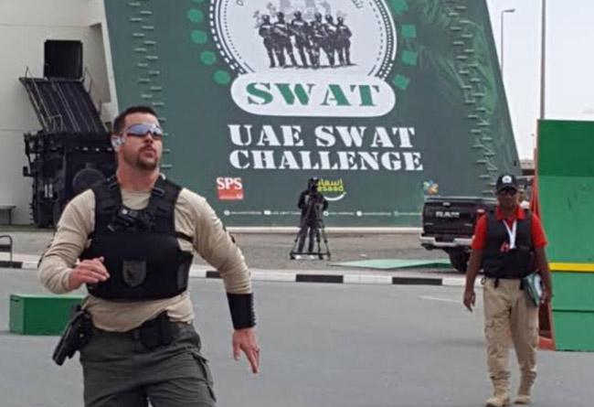 Flagler County Sheriff's deputy Brandon Fiveash during competition at the UAE SWAT Challenge this week in Dubai. (FCSO)