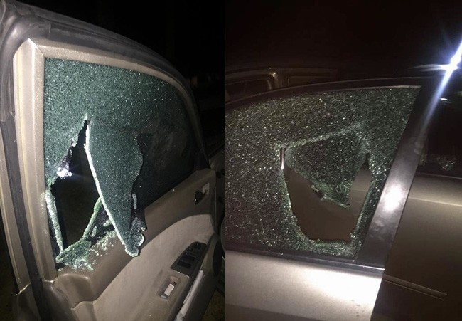 The damage thieves caused to 25-year-olds Kaitlyn Smith's car before stealing $40.