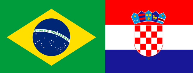 brazil croatia flags world cup