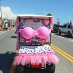 The most eye-catching float at a July 4 parade in Flagler Beach in 2018, in recognition of breast cancer awareness. (© FlaglerLive)