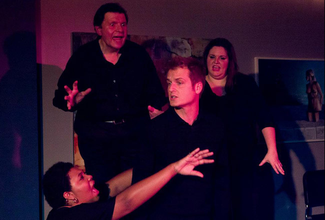 Channeling Jacques Brel's demons at the City Repertory Theatre: from left, Laniece Wilson, Manny DaMata, Brett Cunningham and Kelly Nelson. (City Repertory Theatre)