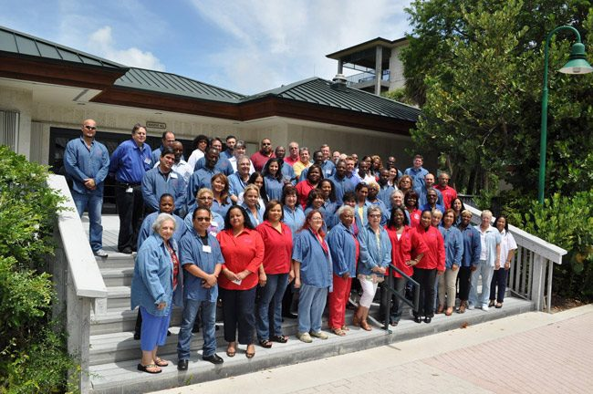 Brenda Snipes, sixth from left in the first row, with her office staff in a 2015 Facebook image.