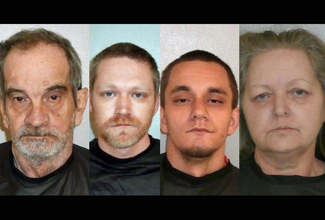 The Bridewells: from left, Gilbert Bradwell, 70, Brad Turner, 32, Tyler Bridewell, 21, and Sheila Bridewell, 61.