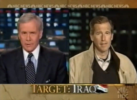 Brian Williams, telling his lie to Tom Brokaw in 2003.