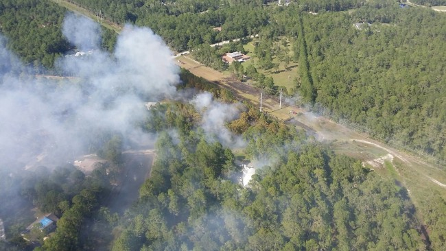 An image taken by the Fire Flight crew this afternoon above the Eagle Rock fire. Click on the image for larger view.
