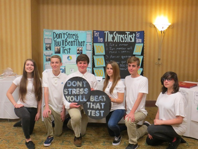 Grand Champions: 'Don't Stress, You'll Beat that Test,' won grand champion.  The project focused on helping students practice skills necessary for test-taking success.   Members of the team are Brian Cote, Valerie Diaz, Sharon Gardner, Dallas Nickels, Daniella Sbordone, and Chase Smith. (Gretchen Smith)