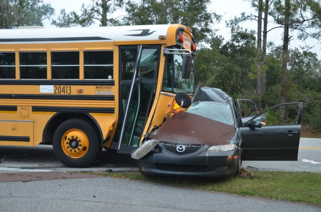 The Buffalo bus was involved in a collision at Ravenwood Drive. Click on the image for larger view.