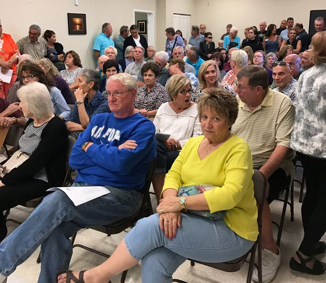 Before the meeting, as the crowd was still swelling at last week's Bunnell zoning board hearing. (© FlaglerLive)