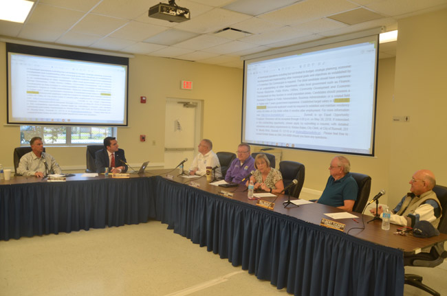 The Bunnell City Commission in special session this morning. (© FlaglerLive)