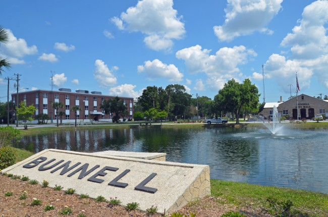 Bunnell's 800-acre economic redevelopment zone encompasses the old county courthouse, to the left, and the old city hall, to the right. Click on the image for larger view. (© FlaglerLive)