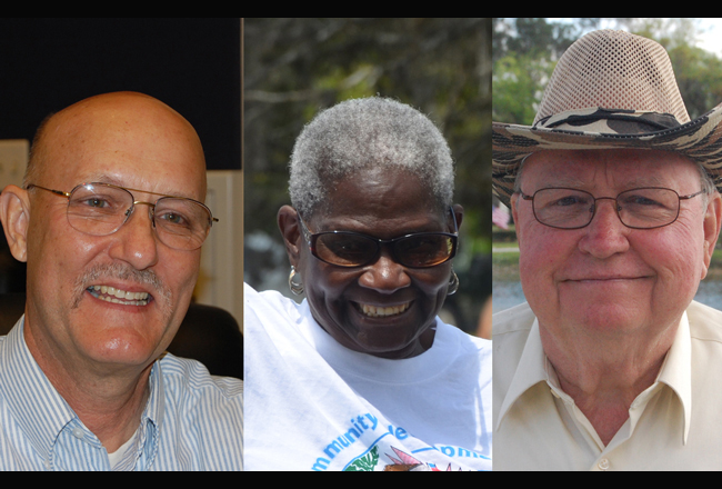 The Bunnell City Commission candidates: from left, Elbert Tucker, Daisy Henry and Bill Baxley. Two of the three will be elected Tuesday. (c FlaglerLive)