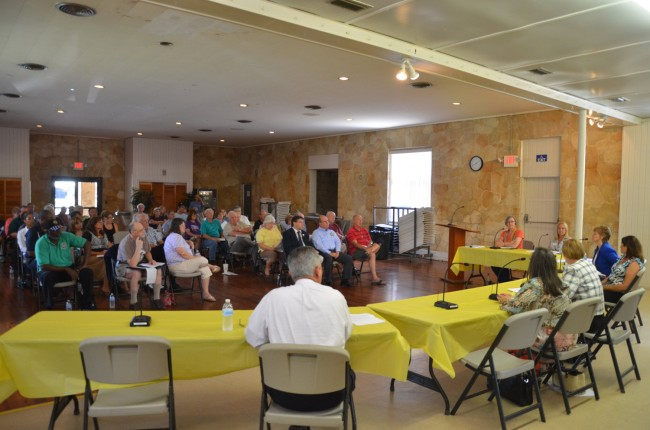 The forum on homelessness Bunnell organized Friday drew about 50 people, including Bunnell and county commissioners and the sheriff, but no representatives from either Palm Coast or Flagler Beach. Click on the image for larger view. (© FlaglerLive)