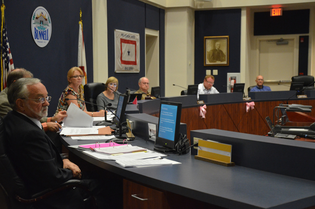 A manager and his unhappy campers at Monday's meeting of the Bunnell City Commission: from left, Lawrence Williams, Jenny Crain-Brady, Catherine Robinson, Bill Baxley, John Rogers and Elbert Tucker. (© FlaglerLive)