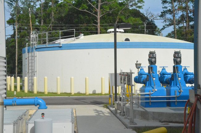 The Bunnell water plant was shut down for the second time in two months overnight in a recurrence of the same issue traced to a malfunctioning float in a water tank. (© FlaglerLive)