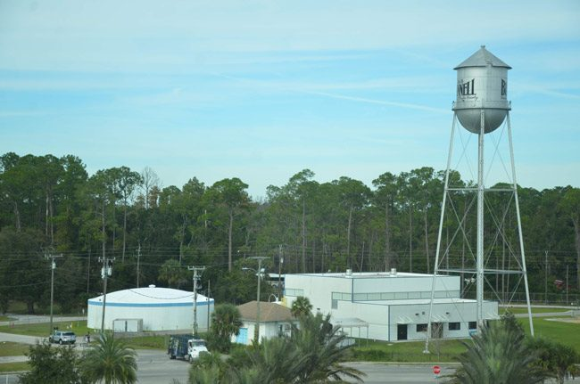 The Bunnell water tower, along with the city's old coquina City Hall, are listed on the National Register of Historic Places, an effort led by Bunnell's Randy Jaye. That makes three Bunnell properties on the register. The third is Holden House. (© FlaglerLive)