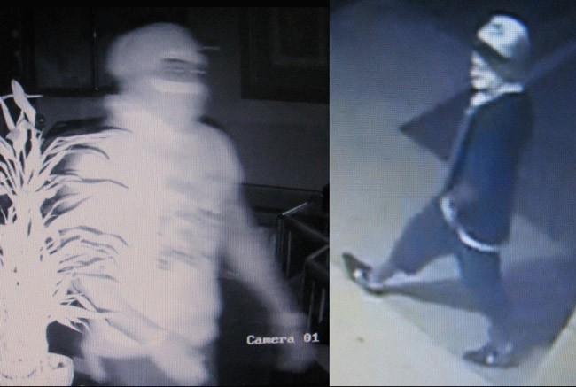 Video captures of the two suspects sought in a string of burglaries and attempted burglaries in Palm Coast and Daytona Beach.