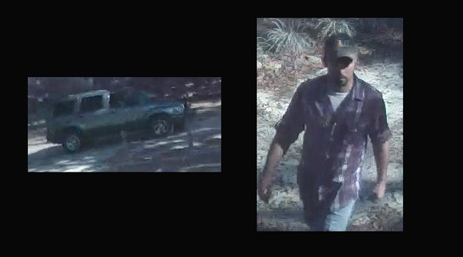 The burglary suspect and vehicle in images released by the Flagler County Sheriff's Office.