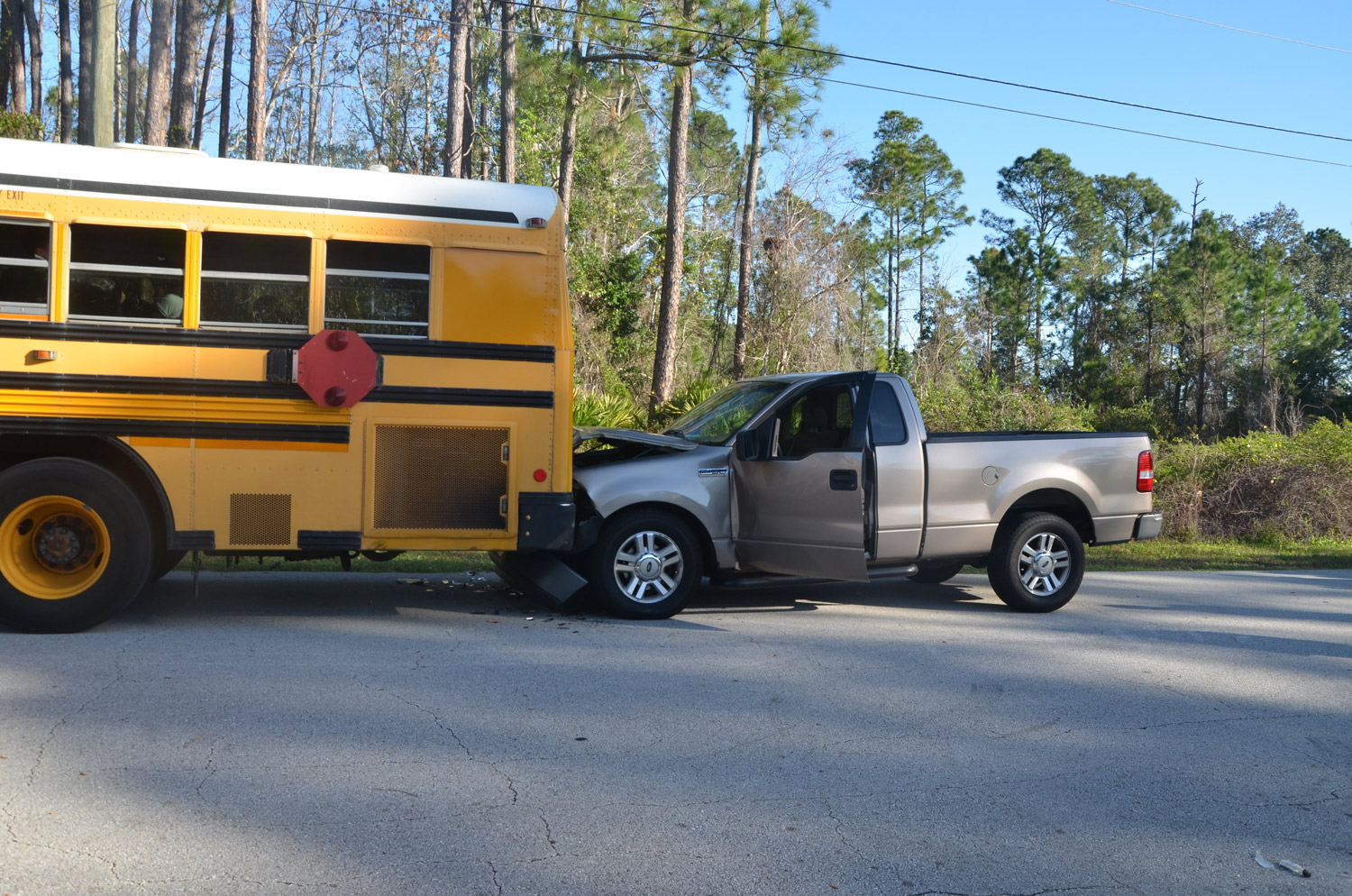 The crash on Laguna Forest Trail in Palm Coast this morning. (© FlaglerLive)
