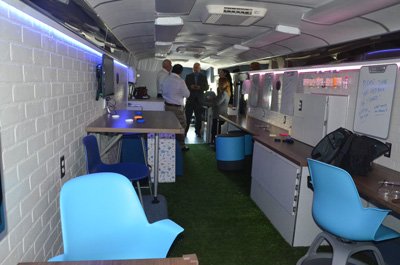 The Connect Bus replicates the less rigid, more collaborative work spaces of today's classrooms. (c FlaglerLive)
