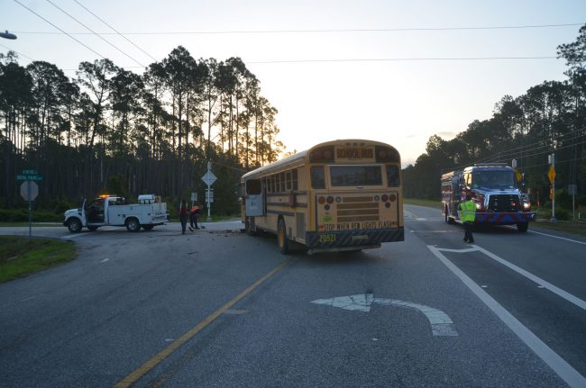 The school bus was making a left from Royal Palms onto Rymfire. (c FlaglerLive)