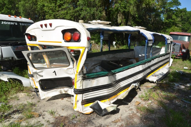 One of the buses was severed from its chassis. Click on the image for larger view. (© FlaglerLive)