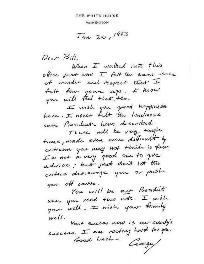 bill clinton george h.w. bush letter