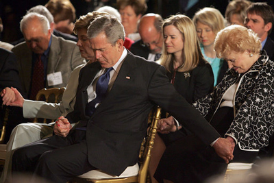 Bush praying national day of prayer white house 2005