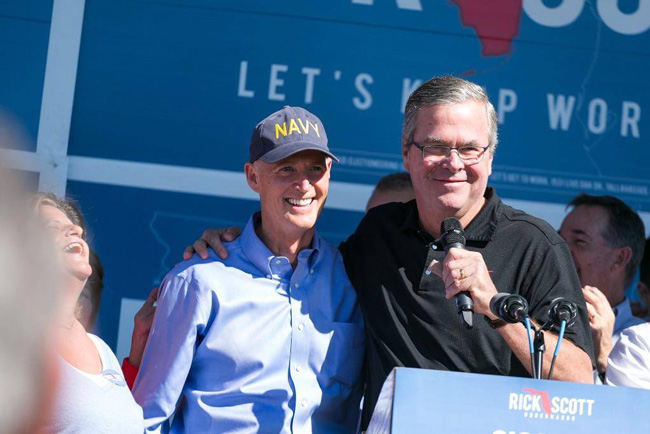 Jeb Bush and Rick Scott two days before Scott was re-elected governor. (Facebook)