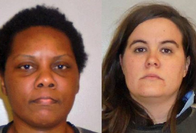 Letita Crimes, left, and Candance Ashley McCall. guns