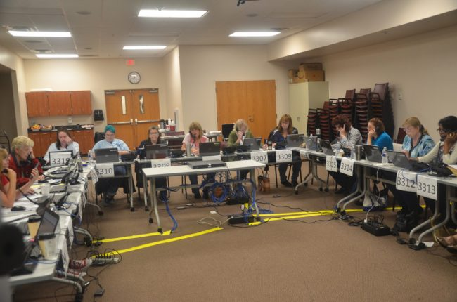 Flagler County's Call Center for the duration of the Hurricane Dorian emergency, set up at the Emergency Operations Center in Bunnell. (© FlaglerLive)