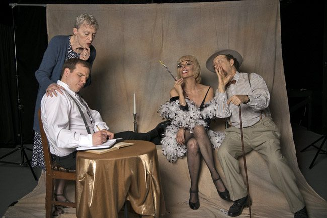 The cast of the City Repertory Theatre production of 'I Am a Camera,' opening tonight and launching CRT's seventh season:  Tyler Adcock as Isherwood, Annie Gaybis as Sally Bowles, Victoria Page as the landlady Fraulein Schneider and Earl Levine as Fritz. (Tom Bird)