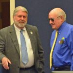 County Administrator Jerry Cameron, left, gave County Commissioner Dave Sullivan inaccurate or confused information on Monday when asked about the financing of the proposed Sheriff's Operations Center. (© FlaglerLive)